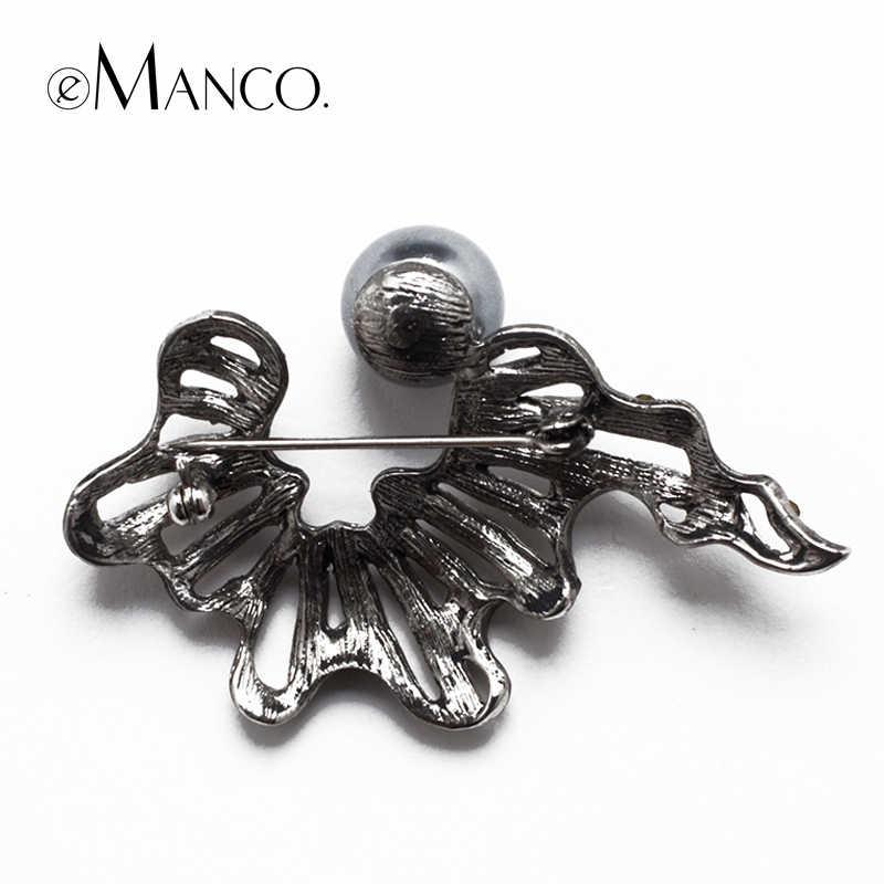Большой жемчуг с бантом цинковый сплав горный хрусталь броши eManco 2015 акции высокое качество мода бижутерии творческий рождественский подарок BR02763
