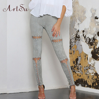 ArtSu Suede Leather Pencil Pants Lace Up Skinny Slim Bodycon Pants Fashion Women Trousers Sexy Faux