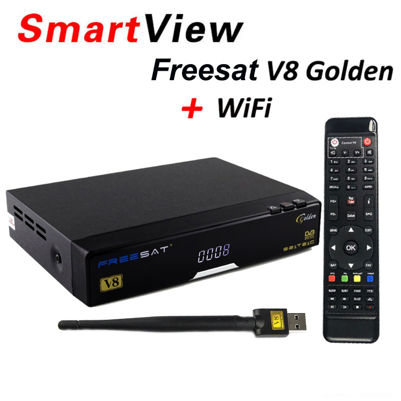 Freesat V8 golden Support powervu Biss key CCcam IPTV USB WiFi DVB-T2 DVB-S2 DVB-C Satellite Receiver DVB T2 S2 cable receptor de it es channels dvb s s2 satellite fta lines 1 year cccam clines newcamd usb wifi satellite tv receiver for free shipping
