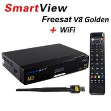 Freesat V8 Золотой Поддержка powervu Biss ключ CCcam IPTV USB Wi-Fi DVB-T2 DVB-S2 DVB-C спутниковый ресивер DVB T2 S2 кабель рецепторов
