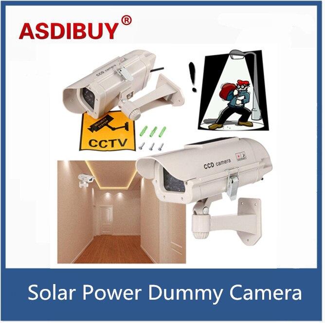 Fake Dummy Camera Solar Power Outdoor waterproof Security Bullet CCTV Camera Surveillance De Seguridad Red Blinking LED