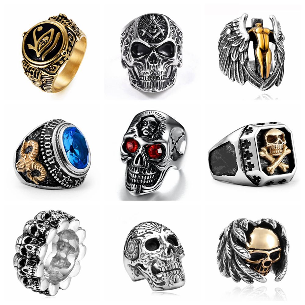 Male Rings Jewelry Free-Fan Punk Hiphop Vintage Skull Party Gothic Men Women For Anillo