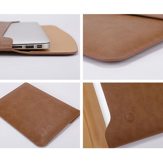 PU Leather Laptop Sleeve Case For Macbook Air Retina 11 12 13 New Pro 13.3 15 16 2018 2019 Notebook Bag For Xiaomi 15.6 Cover
