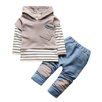 Toddler Tracksuit Baby Clothes Sports Suit baby girl boys Childrens Clothing Kids Clothes Hooded Stripe T-shirt Tops+Pants 2PCS