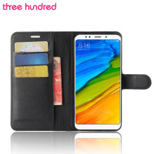 ThreeHundred for Xiaomi Redmi 5 Plus Case Cover Redmi 5 Case Flip Cover Litchi Leather Wallet Full Protect Redmi5 Plus Case(China)