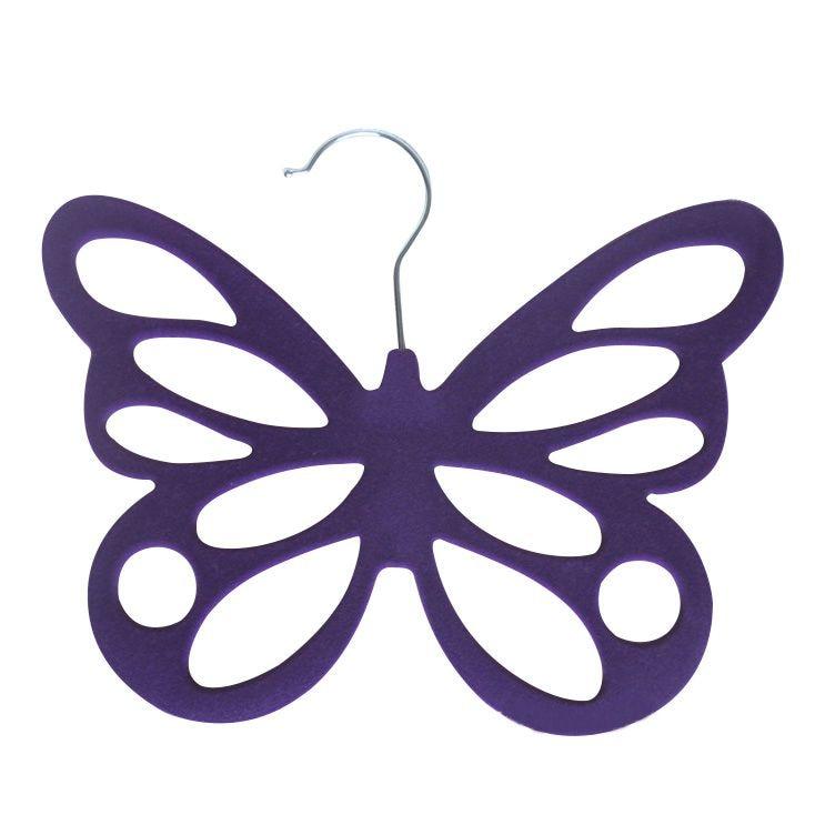 HOT GCZW-Butterfly Non Slip Flocked Scarf Tie Belt Clothes Wardrobe Holder Hook Hanger