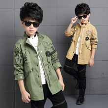 2016 дети мальчики марка досуг пальто для 5-15 года мальчиков осень куртки и пальто дети граффити пальто 26163