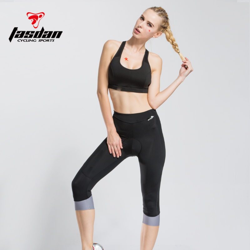 Tasdan Womens Gel Coolmax Pad Summer Shorts Spring Tights 34 Pants Cycling Wear Cloth Cyclings -3588