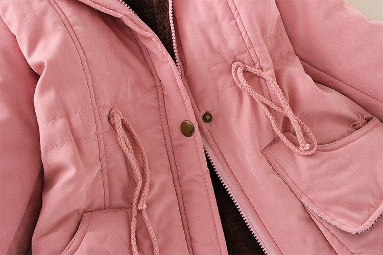 19 Winter New Women's Hooded Fur Collar Waist And Velvet Thick Warm Long Cotton Coat Jacket Coat 22