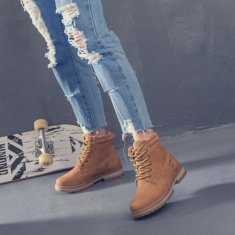 Women Boots Solid Lace Up Casual Ankle Boots Round Toe Shoes Student Snow Boots Classic Winter Warm Ladies Shoes T## 15