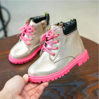 Autumn Winter Fashion British Lace Up Kids Girls Boots PU Leather Children Soft Shoes For Girls