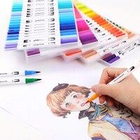12/18/24/36/48/72/100 قطعة ألوان فاينلاينر رسم ألوان مائية أقلام ماركر أقلام ثنائية الطرف فرشاة قلم اللوازم المدرسية