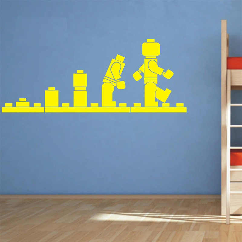 Lego Evolution Decal Wall Sticker Lego Wall Art Vinyl Stencil Kids Room Cartoon Decorative Stickers Brand Quote Diy Home Decor