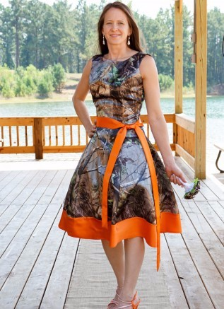 Custom Made Knee Length Camo   Bridesmaid     Dresses   Camouflage Wedding Party Gowns 2016 Orange Satin Special Occasion   Dress