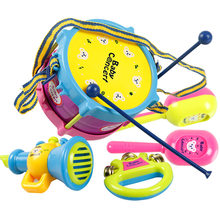 5 Pcs/Set Kids Baby Infant Roll Drum Horn Music Toy Sets Mini Grasp Hand Musical Instruments Early Educational Toys YJS Dropship