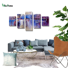 5 Pieces Panel Painting Print Modern Decorative  Canvas The Ink Falls On A Rainy Day Modular Pictures Large
