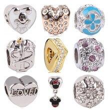9e4789cf85fd Ajuste Original Pandora Charms pulsera de plata joyería de moda mujer hombre  fabricación nuevo Mickey serpiente