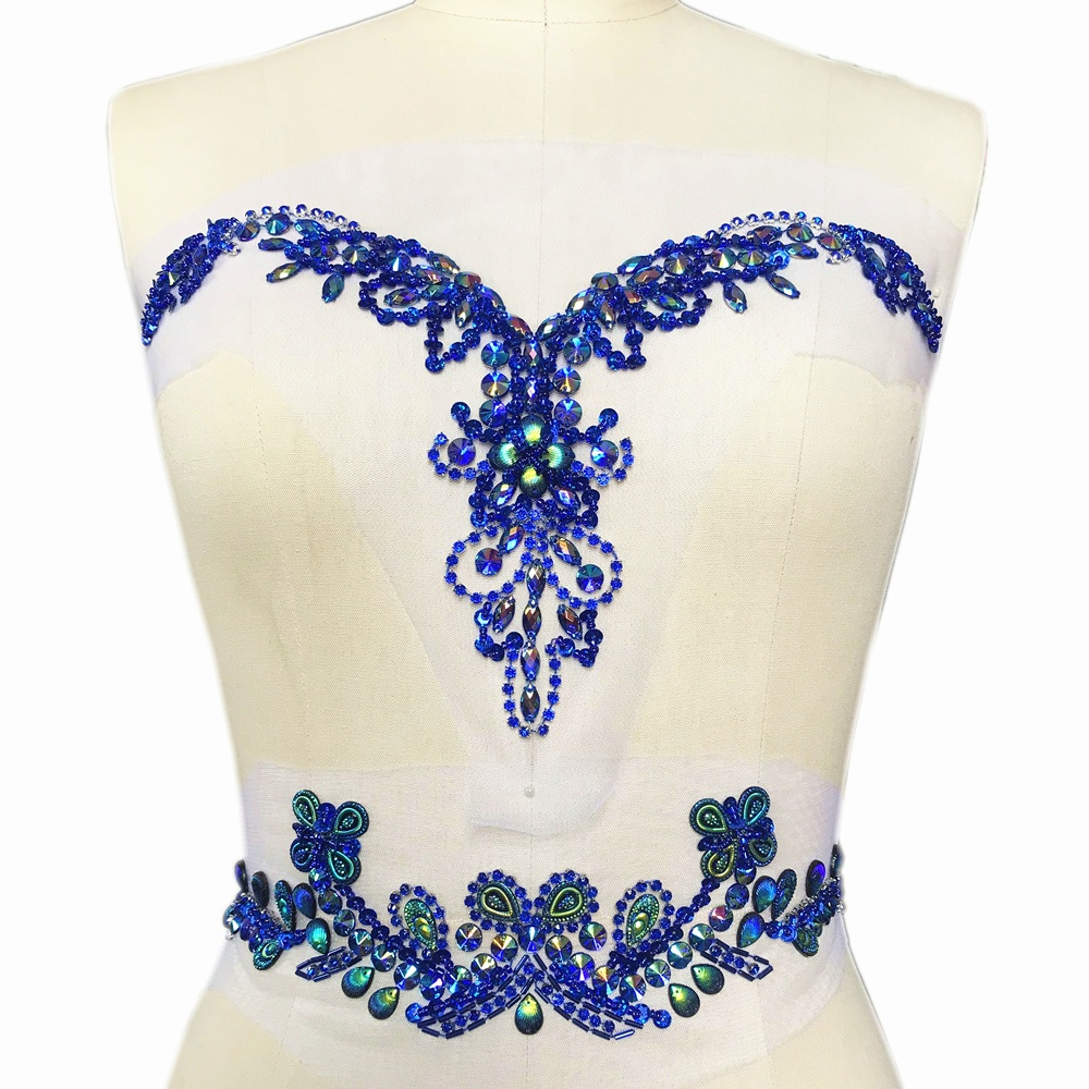 Blue Crystal Beaded Wedding Patch Appliques For Clothes V-Neck Belt Waist  Sew On Rhinestone 12db4f061b0b