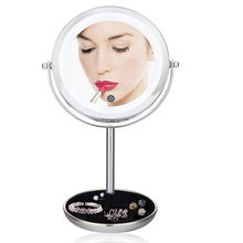 LED Lighted Makeup Vanity Mirror Double 2 Sided 5X magnifying pocket mirror Brightness Adjustable Touch Screen Make Up Mirror