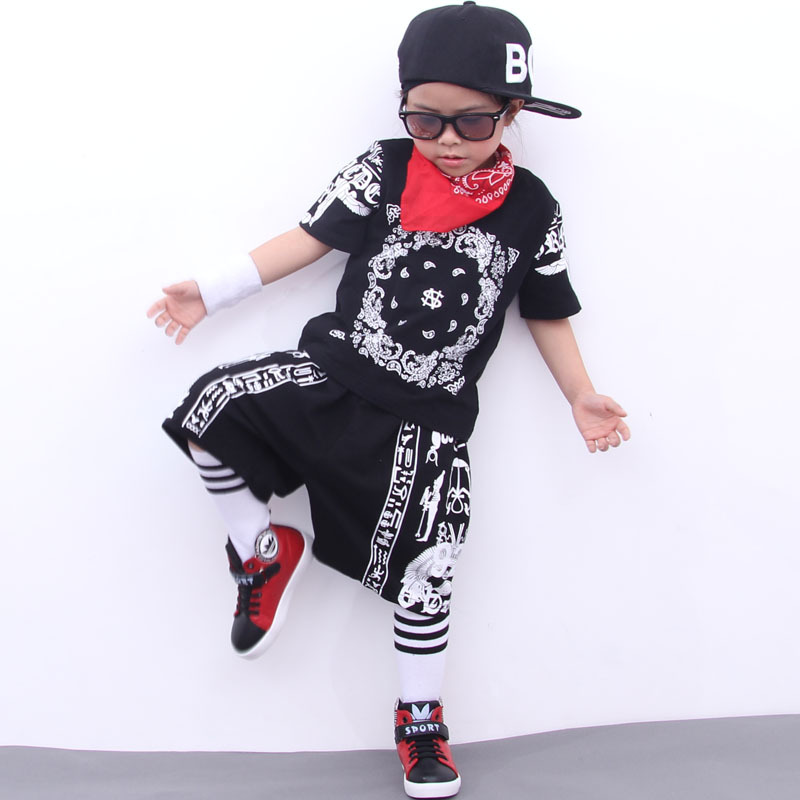 Buy Summer teenagers clothing sets boys clothes hiphop T shirt pants girls clothing jazz children clothes sports suit kids tracksuit