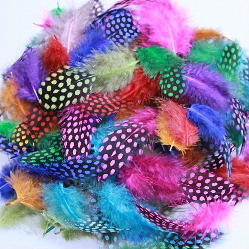 GUINEA FOWL FEATHERS FEATHERS X 30  MILLINERY//CRAFT//ART