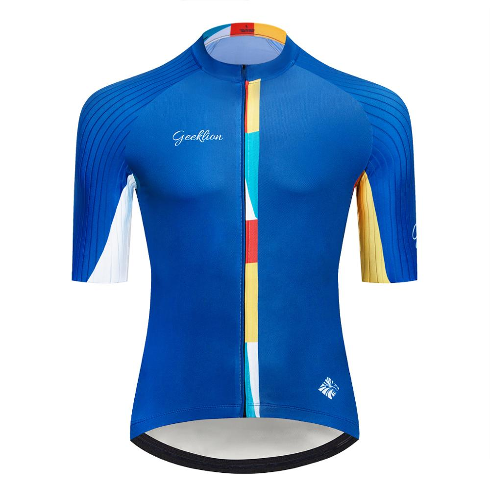 For Sale Racing Pro Fit Bicycle Wear Breathable Geeklion Blue Short Sleeves Cycling  Jersey Team Tour Cyclist Maillot 4000026343989