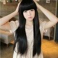 Новое поступление 65 см черный средней длины удары отделка на глазах синтетический парик волос, Женская естественно черный настоящие волосы. Бесплатная доставка