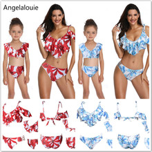 2019New Swimsuit Mother and Daughter Clothes Printing piece double lotus leaf Parent-Child Swimwear Family Matching Outfits