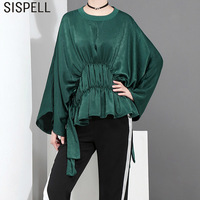 SISPELL Womens Tops And Blouses O Neck Batwing Sleeve Tunic Female Shirt Irregular Ruffles Loose Solid