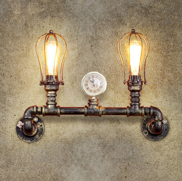 Double Head Loft Vintage Industrial Wind Wall Lamp Study Balcony Restaurant Bar Iron Water Pipe Wall Light Free Shipping american countryside industrial vintage loft wrought iron net water pipe wall lamp cafe bars balcony retro light free shipping