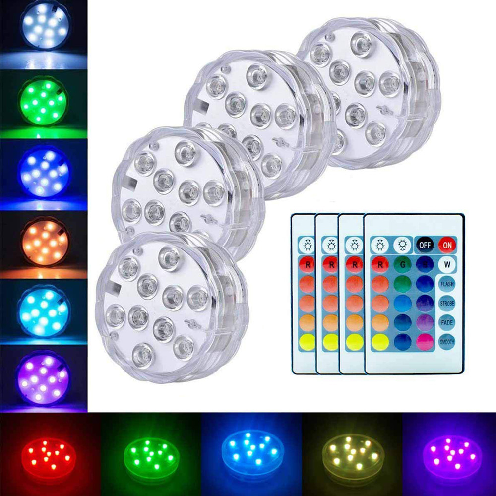 4PC Underwater Lamp IP68 Waterproof Multi Color Battery Operated Remote Control Wireless 10-LED Lights For Hot Tub,Pond,Pool
