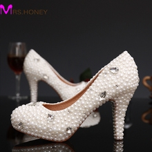 White Pearl Woman Bridal Dress Shoes Free Shipping High Heels Ivory Pearl Shoes Ladies Rhinestone Round Toe Shoes
