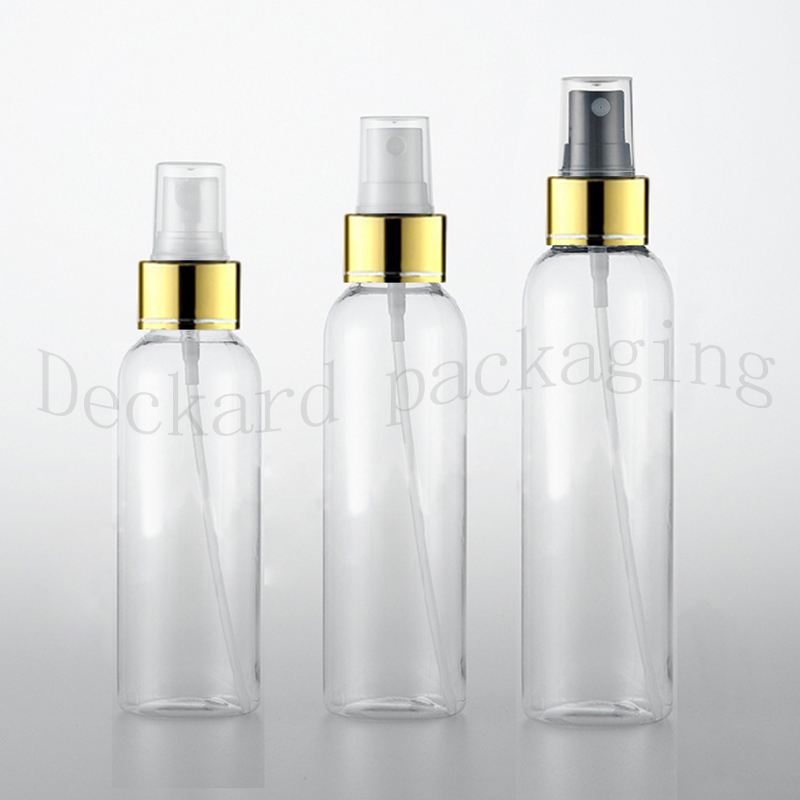 40pc 120 150 200ml Empty Transparent perfume spray bottle Clear Plastic Bottle With Gold Aluminum Mist