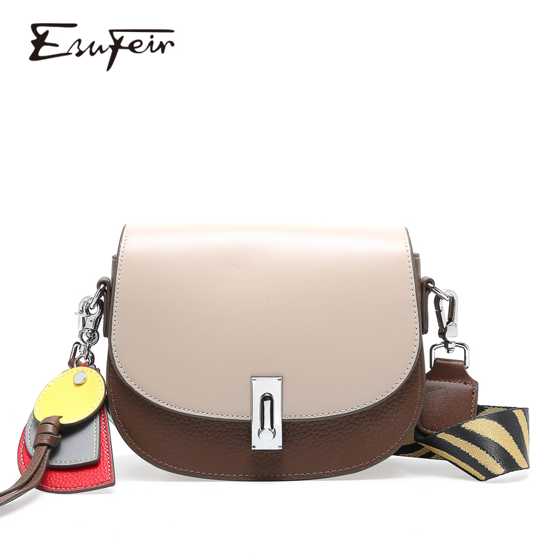 ESUFEIR New 2019 Genuine Leather Women Saddle Bag Fashion Cross body Bag Female Shoulder Bag Small Cover Bags bolsas feminina-in Top-Handle Bags from Luggage & Bags    1