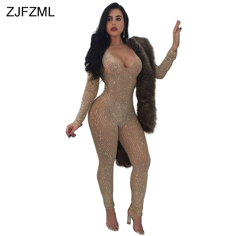 a1f285ca1c95 ZJFZML Shiny Rhinestone Sexy Bodycon Jumpsuit Women Perspective Full ...