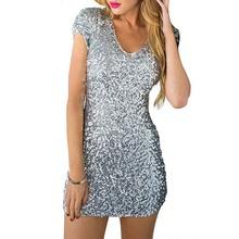 2015 Summer PrettyGuide Women V Neck Sequined All Over Ruched Sleeve Bodycon Dress for Special Occasion Dancewear Sparkly Dress