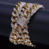 14mm Miami Cuban Chain Necklace Gold Silver Men's Hip Hop Rapper Bling Iced Out Micro Pave AAA CZ Necklace Rock Jewelry