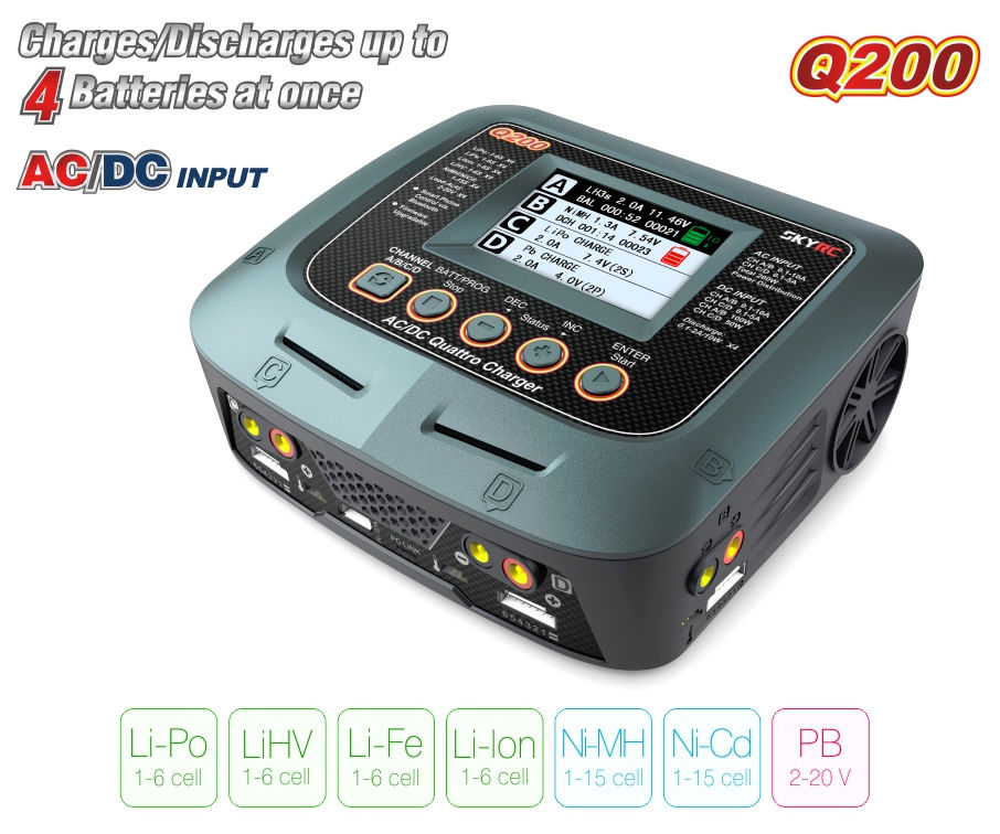 SKYRC Q200 1 to 4  Balance charger/Discharger AC/DC FPV Quad Lipo/LiHV/Lithium-iron/Lithium Ion/NiMH/NiCD/Lead-acid battery skyrc d100 2 100w ac dc dual balance charger 10a charge 5a discharge nimh lipo battery charger twin channel charge