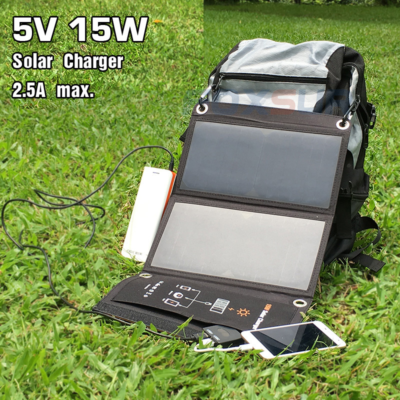 FOXSUR 5V 15W Solar folding bag Outdoor Solar Charger Panel 5V 2.5A Foldable charger, Portable Climbing Charger,For cell Phones sunpower 21 watt portable folding solar panel charger for ipad tablets mobile phones smart phones iphone 2xusb out
