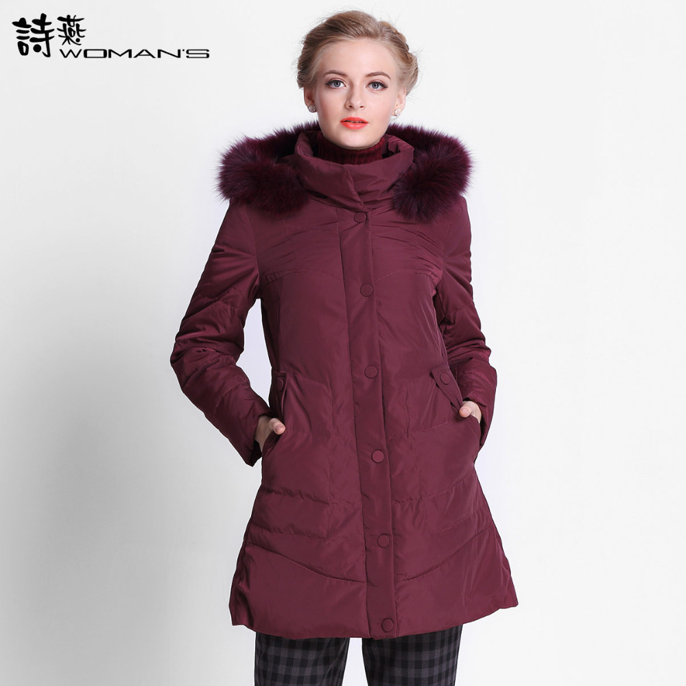 2015 Hot New Winter Thicken Warm Woman Down jacket Hooded Fox Fur collar Coat Outerwear Parkas Luxury  Mid Long Plus 3XXXL Size 2016 new hot winter thicken warm woman cotton padded wadded jacket coat parkas outerwear hooded fur collar long plus size 3xxxl
