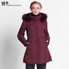 2015 Hot New Winter Thicken Warm Woman Down jacket Hooded Fox Fur collar Coat Outerwear Parkas Luxury  Mid Long Plus 3XXXL Size