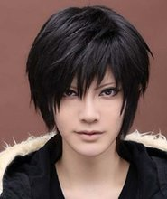 Men Fashion Natural Black Wig Cosplay Anime Short Straight Costume Party Full Synthetic Hair Wigs Male Peruca Pelucas