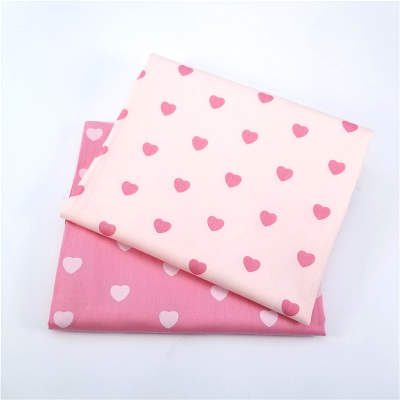 2pcs/lot Heart Design DIY Cotton Twill Fabric For Quilting Baby Cloth Kids Bedding Patchwork Tissue Home Textile Sewing Fabric