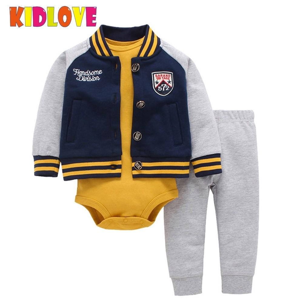 KIDLOVE Cute Baby Boy Girls Clothes Outfits Cotton Hooded Jacket Jumpsuit Pants 3pcs Set Costumes for All Season Clothes ZK30