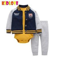 KIDLOVE Cute Baby Boy Girls Clothes Outfits Cotton Hooded Jacket Jumpsuit Pants 3pcs Set Costumes For