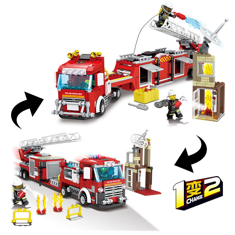400+PCS Fire Fighting Trucks Rescue Car Building Blocks Compatible Legoingly City Firefighter Figures Children Toys