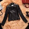 Mulheres Jaqueta de inverno 2016 Da Forma do Couro Genuíno Curto Turn-down Gola Zipper das Mulheres Jaquetas de Couro Da Motocicleta Preta RD5067