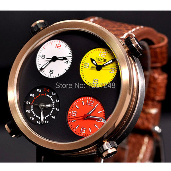48mm Parnis Big Face sandwich dial Multiple Time Zone quartz WATCH Full chronograph gold plated P54