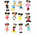 12 pcs, BOHS Mini Mickey Mouse Pato Donald Minnie Dos Desenhos Animados Micro Decoração Do Bolo de Aniversário Figuras de Ação