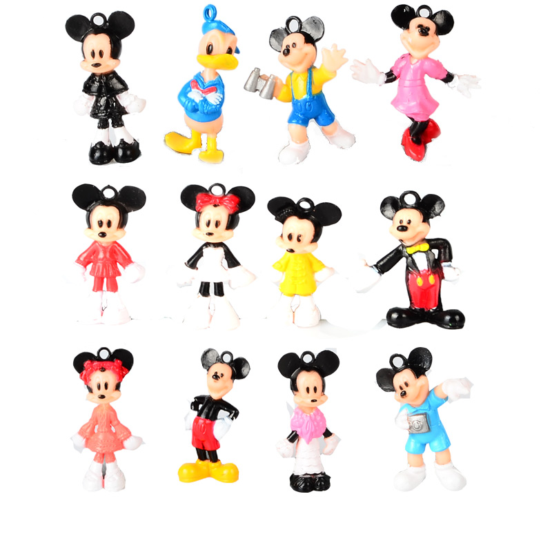 12pcs, BOHS Mini Mickey Mouse Donald Duck  Minnie Cartoon Micro Birthday Toy Cake Toppers  Action Figures 30cm mickey mouse and minnie mouse toys soft toy stuffed animals plush toy dolls